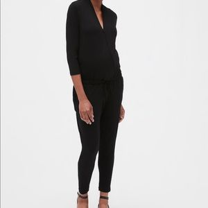 Black maternity wrap jumpsuit button chest romper